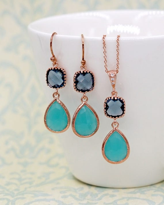 Mint teardrop Blue cushion Rose Gold Earrings | Brides Bridesmaid Blush Jewelry Wedding Something Blue | Gifts for  wife mom E297 N220