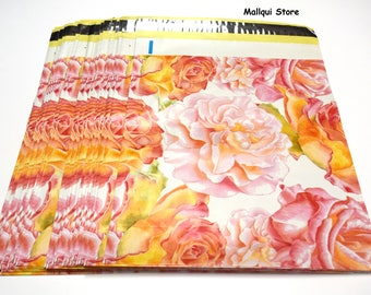 100 - Watercolor Blossom Designer 10X13 Mailer Poly Bags, Mailing Plastic Bags - Designer #18 - Free Shipping!!!