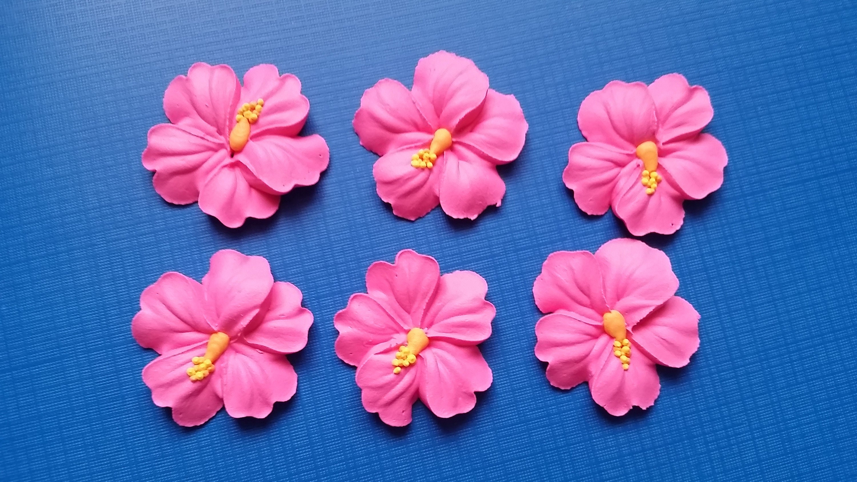 Large royal icing pink hibiscus flowers made to order edible shipping izmirmasajfo Choice Image