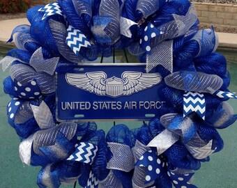 Air Force Wreath Deco Mesh - Air Force Wall Decor - Air Force Door Decor - Air Force Decoration - Air Force - Military Wreath - Air Force