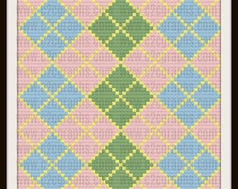 Argyle C2C Graph, Argyle Baby Afghan, Argyle Crochet Pattern, Argyle Corner to Corner