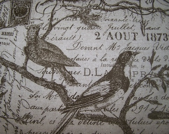Love Nest BIRDS inTea Ieaves on French Script multipurpose fabric