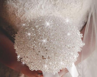 "Crystal Bouquet package  -'Elegance' bridal wedding bouquet 8""  + 5 buttohnoles"