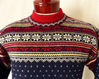 Land's End vintage 80s 90's navy blue wool knit fair isle ski sweater red yellow white chest collar nordic snow flake pattern pullover small