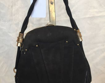 30s black suede bag with brass details