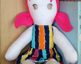 Modern Rag Doll, Handmade Doll, Fabric Cloth Doll, Dress Up Doll, Girl Doll, Pink Hair, Stripy, Soft Toy, Cloth Doll, Beth Doll, CE Mark