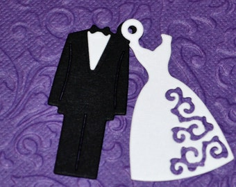 Bride and Groom Charm Tags/Set of 12 Paper Wedding Tags, Fancy Dress Charm Tag, Tuxedo Charm Tag, Favor Gift Tag, Wedding Couple Paper Charm