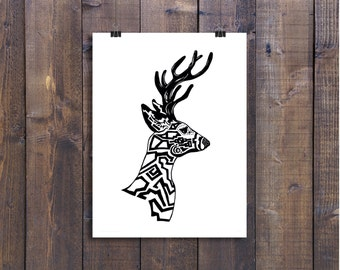 Deer Art, Woodland Animal Print, Illustration Print, Wall  Art Print, Pen and Ink Art Print, Black and White Art, Ink Art, 12 x 18 Art Print