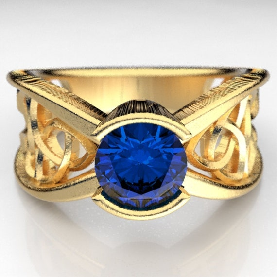 Gold Engagement Ring Celtic Design With Sapphire and Trinity Knot in 10K 14K 18K Gold, Palladium, Platinum, Made in Your Size Cr-1026