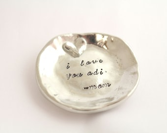 Ring Holder - Ring Dish - Valentine's Day - Ring Plate - Ring Bowl - Jewelry Dish - Trinket Dish - Silver Trinket Tray - Personalized Dish
