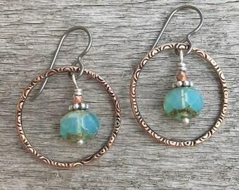 Bohemian Earrings, Colorful Earrings, Hoop Earrings, Bronze Earrings, Circle Earrings, Green Earrings, Boho Hoops, Stamped Jewelry