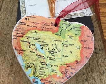 Cambodia Map Christmas Ornament, Your Special Place in the Heart / HONEYMOON Gift / Wedding Map Gift / Travel Tree Ornament /Secret Sister