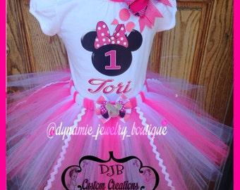 Minnie Mouse Tutu Set, Minnie Tutu, custom Minnie Tutu Set, Minnie Birthday Outfit, Minnie First Birthday