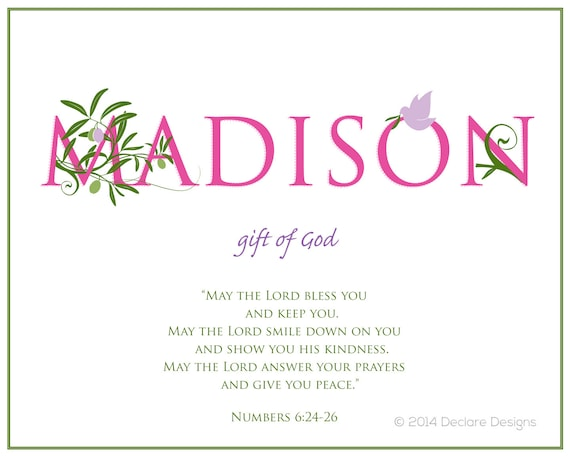 MADISON Name Art Canvas with Name Meaning and Scripture Verse, 16x20 - wall art baby name meaning