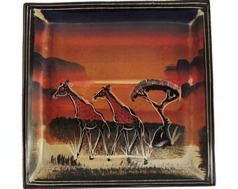 Stone Plate Kisii Giraffes 6 Inch Square Kenya Africa 103380