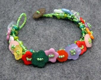 Beaded Bracelet - Button Embellished - Flower Garden Bright Multicolored by randomcreative on Etsy