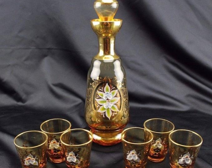 Vintage ORNATE Enamel FLOWERS Amber Glass Decanter 6 Shot Glasses Murano ITALY
