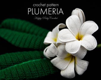 Crochet Plumeria Pattern - Crochet Flower Pattern for Frangipani- Crochet Pattern for Decor, Bouquets and Arrangements