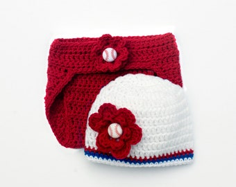 BASEBALL BABY GIRL, Crochet Baseball, Red White Blue, Baby Girl Clothes, Coming Home Outfit, Baby Baseball Hat, Diaper Cover, Baby Girl Gift