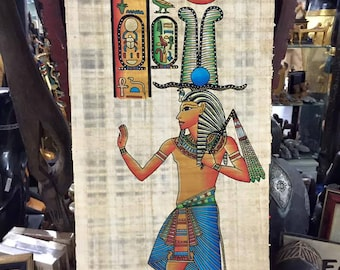Vintage Hand Painted Papyrus Egyptian God Osirs Made In Egypt  and signed by the original Egyptian Artist.