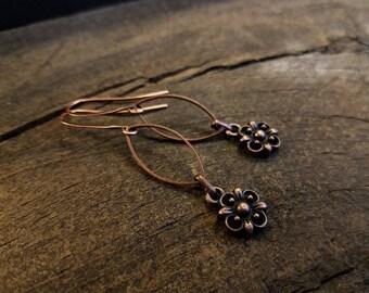 Boho Earrings, 2 inches, Copper Earrings, Metal Earrings
