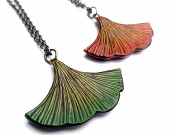 Green Ginkgo Leaf Necklace, Orange Ginkgo Leaf  Pendant, Rustic Leaf Jewelry, Gift for Her, Wife Gift, Nature Lover Gift,  Girlfriend Gift
