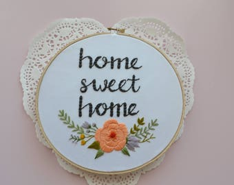 SWEET HOME Hand Embroidered Hoop Housewarming Gift