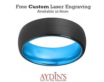 Tungsten Blue Ring, Mens Wedding Band, Black Tungsten Brushed, Aqua Blue Tungsten Dome Ring Tungsten Wedding Ring Man Tungsten Ring