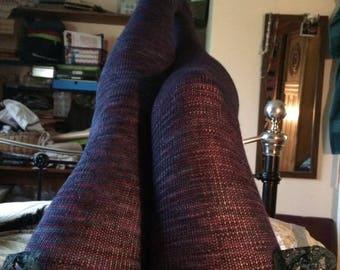 Dark purple fine merino knitted ladies stockings.
