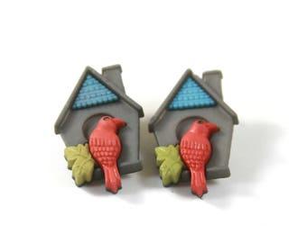 Birdhouse earrings, Birdhouse studs, Summer earrings, Bird earrings, Bird studs
