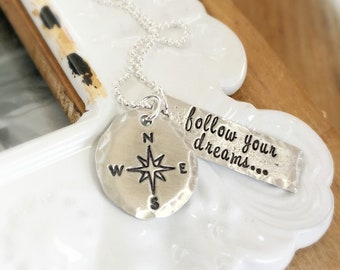Graduation Necklace . Follow Your Dreams . Handmade Jewelry . Compass Necklace . Graduation Gift . Personalized . Shay Designs