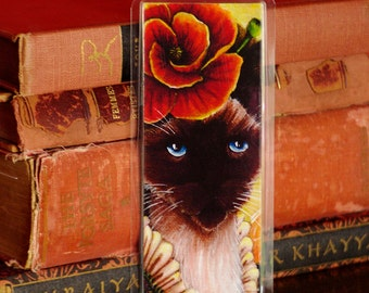 Poppy Cat Bookmark, Flower Fairy Cat Art Bookmark