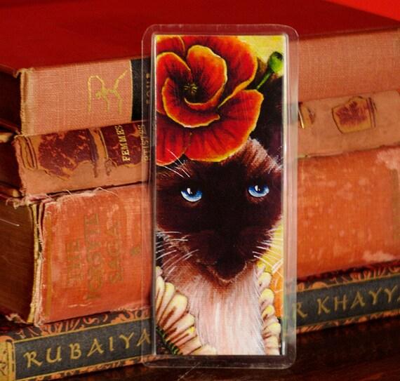 Poppy Flower Siamese Cat Bookmark
