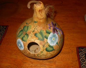 Hand Painted Gourd Birdhouse with Morning Glories and Dragonfly