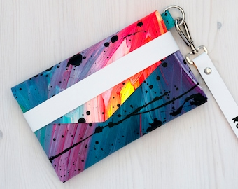 Party Clutch Bag // Limited Edition Wristlet // Hand painted // Colourful // Abstract