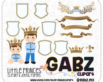Little Princes, Clip art, Boy, Prince, Birthday, Baby Shower, Prince Party Theme, Digital Paper, Prince Clip art, Gabz