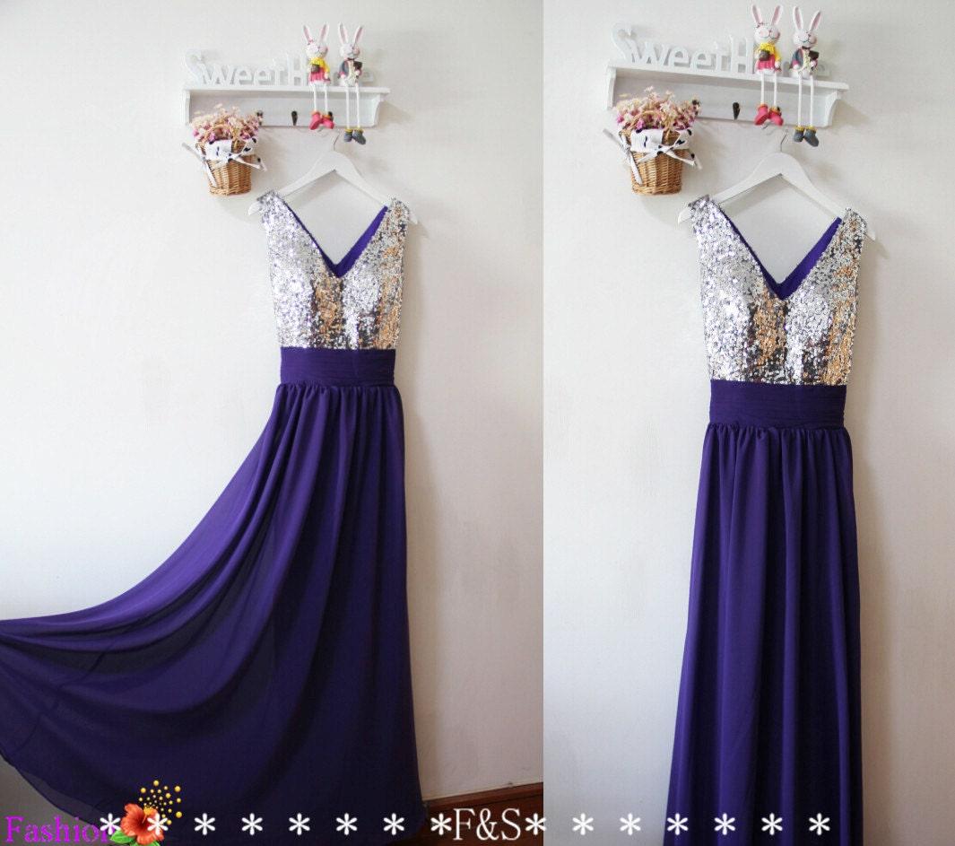Purple Sparkle Prom Dress