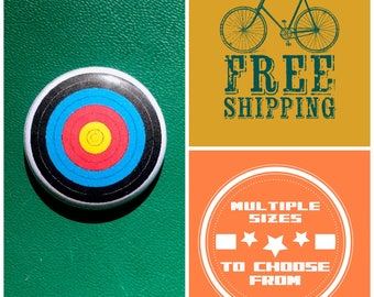 Archery Bullseye Button Pin or Magnet, FREE SHIPPING & Coupon Codes