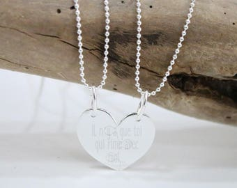 Necklace / Heart Necklace 925 Silver detachable * custom Creation * with engraving