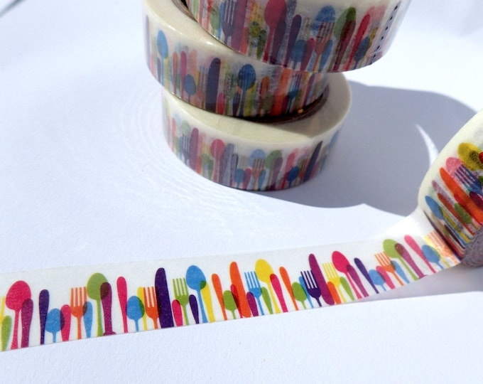 Forks Knives Spoons Washi Tape - Paper Tape for Calendars Scrapbooking Paper Crafts Organizing 15mm x 10m - Kitchen Utensils Silverware