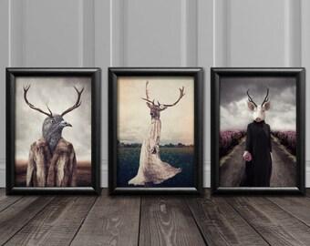 Anthropomorphic Art, Funky Wall Art, Quirky Art Prints, Animal Art, Weird Art, Animal Prints, Animal Lovers Gift, Unique Art, Human Animals