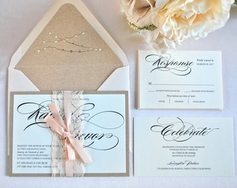 Rustic Blush, Kraft And Lace Wedding Invitation  Curvy Script  (not A  Sample Listing)   Colors/wording/materials Customizable