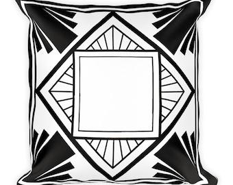 Square Pillow, Black stripe pillow, Art deco style pillow, Square black pillow, Black and white pillow