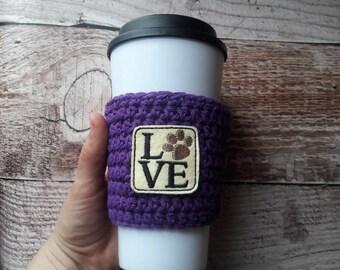 Vet tech gift, Coffee sleeve, crochet paw coffee cozy, coffee cup cozy, cup cozy, vet, dog cup cozy, veterinary technician, dog lover