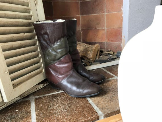 burgundy Vintage DORNDORF Germany multicolored in green Winter wool boots 41 Made brown boots UK leather 5 EU 7 0AAdw
