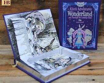 Hollow Book Safe - Alice's Adventures in Wonderland - Purple Leather Bound
