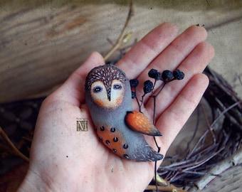 Textile brooch, Textile art, Primed textile, Primed textile brooch,  Bird, Owl Brooch