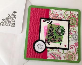 Best Wishes Pink Green White handmade birthday card