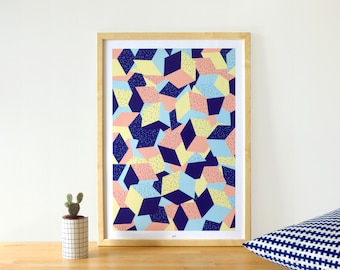 "Geometric poster and colorful - Illustration ""Barcelona"" A2 Size"