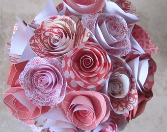 Red and Coral paper flower bouquet